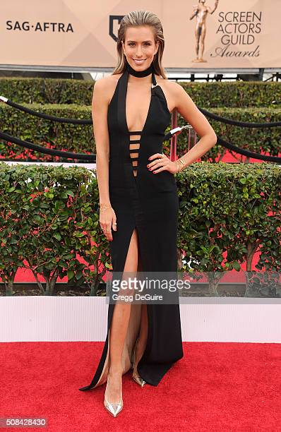 TV personality Renee Bargh arrives at the 22nd Annual Screen Actors Guild Awards at The Shrine Auditorium on January 30 2016 in Los Angeles California
