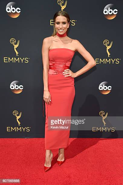 TV personality Renee Bargh attends the 68th Annual Primetime Emmy Awards at Microsoft Theater on September 18 2016 in Los Angeles California