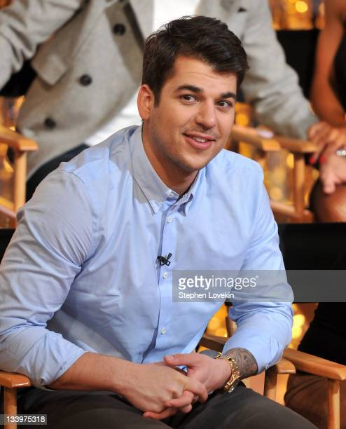 TV personality Rob Kardashian from the cast of 'Dancing With The Stars' visits 'Good Morning America' at ABC Studios on November 23 2011 in New York...