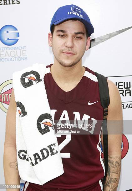 TV personality Rob Kardashian rocks the New Era E League player's cap at E League Media Day on March 6 2011 in Santa Monica California