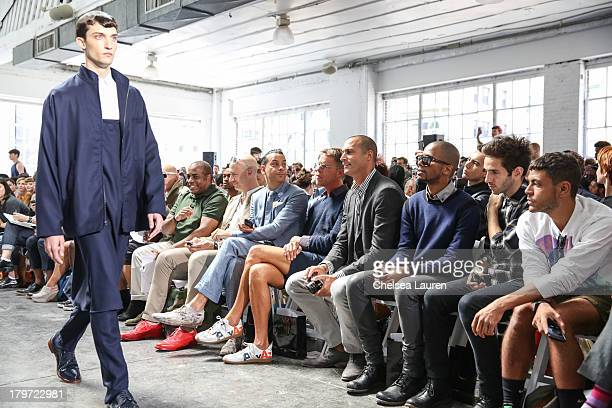 TV personality Robert Verdi TV personality Nigel Barker and actor Eric West attend the Duckie Brown fashion show during MercedesBenz Fashion Week...
