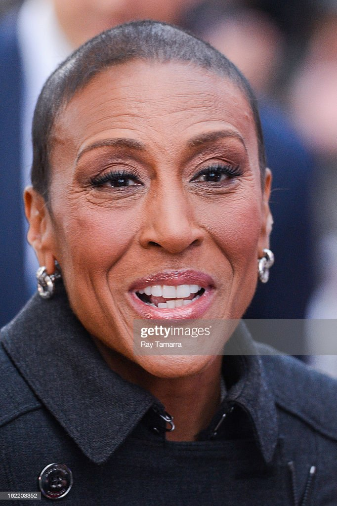 TV personality Robin Roberts enters the 'Good Morning America' taping at ABC Times Square Studios on February 20, 2013 in New York City. Robin Roberts returns to 'Good Morning America' after six month leave for life-saving bone marrow transplant.