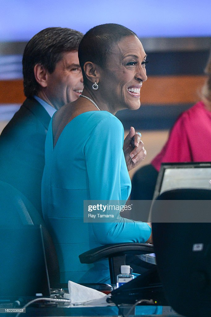 TV personality Robin Roberts hosts the 'Good Morning America' taping at ABC Times Square Studios on February 20, 2013 in New York City. Robin Roberts returns to 'Good Morning America' after six month leave for life-saving bone marrow transplant.