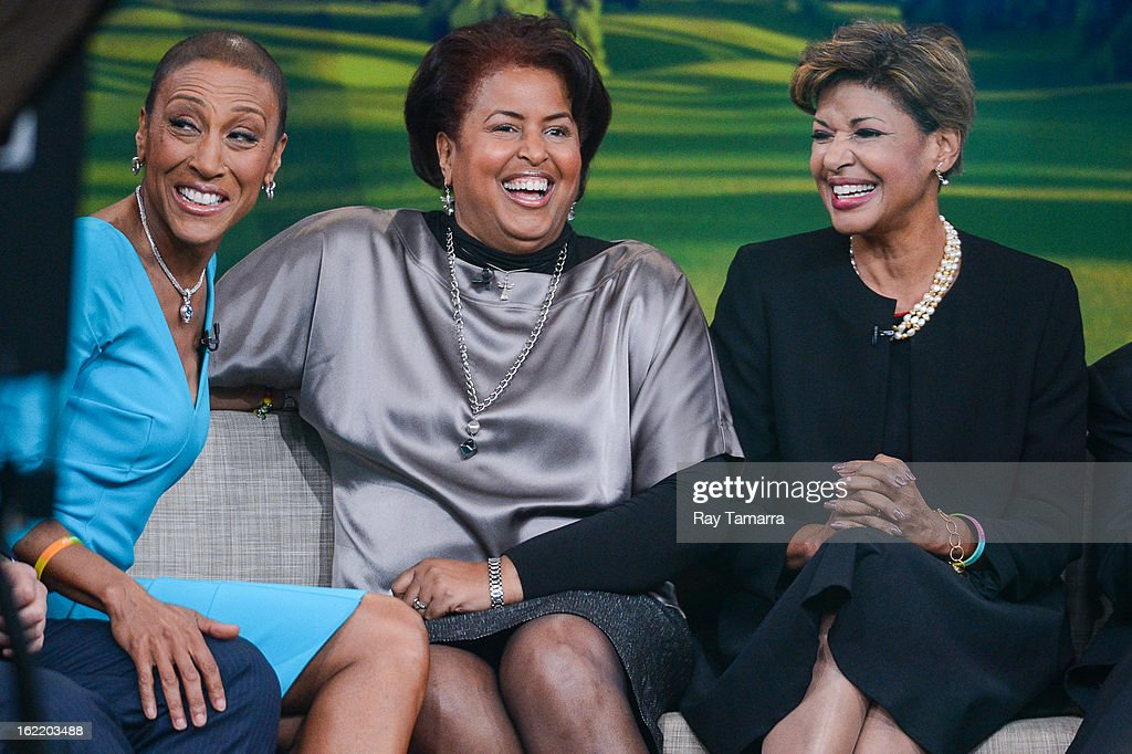 TV personality Robin Roberts interviews her sisters Dorothy Roberts McEwen and Sally-Ann Roberts at the 'Good Morning America' taping at ABC Times Square Studios on February 20, 2013 in New York City. Robin Roberts returns to 'Good Morning America' after six month leave for life-saving bone marrow transplant.