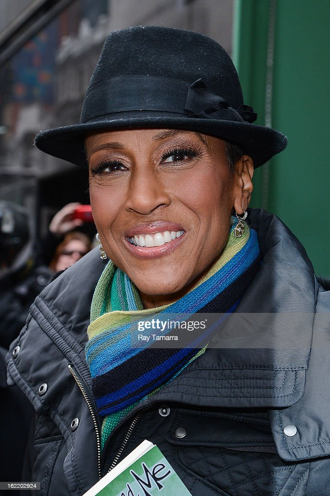 TV personality <a gi-track='captionPersonalityLinkClicked' href=/galleries/search?phrase=Robin+Roberts+-+Television+Anchor&family=editorial&specificpeople=4439371 ng-click='$event.stopPropagation()'>Robin Roberts</a> leaves the 'Good Morning America' taping at ABC Times Square Studios on February 20, 2013 in New York City. <a gi-track='captionPersonalityLinkClicked' href=/galleries/search?phrase=Robin+Roberts+-+Television+Anchor&family=editorial&specificpeople=4439371 ng-click='$event.stopPropagation()'>Robin Roberts</a> returns to 'Good Morning America' after six month leave for life-saving bone marrow transplant.