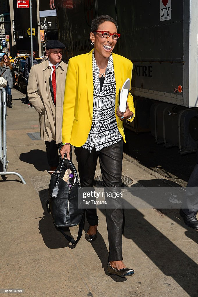 TV personality Robin Roberts leaves the 'Good Morning America' taping at the ABC Times Square Studios on April 25, 2013 in New York City.