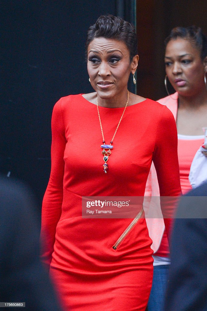 TV personality Robin Roberts leaves the 'Good Morning America' taping at the ABC Times Square Studios on August 5, 2013 in New York City.