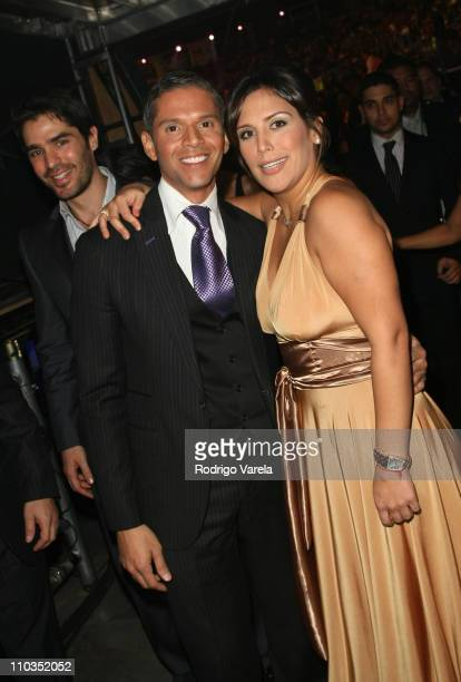TV Personality Rodner Figueroa and actress Angelica Vale backstage during the 8th Annual Latin GRAMMY Awards at Mandalay Bay on November 8 2007 in...