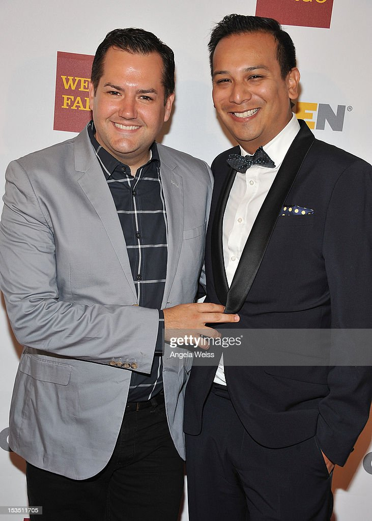 TV personality <a gi-track='captionPersonalityLinkClicked' href=/galleries/search?phrase=Ross+Mathews&family=editorial&specificpeople=2993770 ng-click='$event.stopPropagation()'>Ross Mathews</a> and Salvador Camarena arrive at the 8th annual GSLEN Respect Awards at Beverly Hills Hotel on October 5, 2012 in Beverly Hills, California.