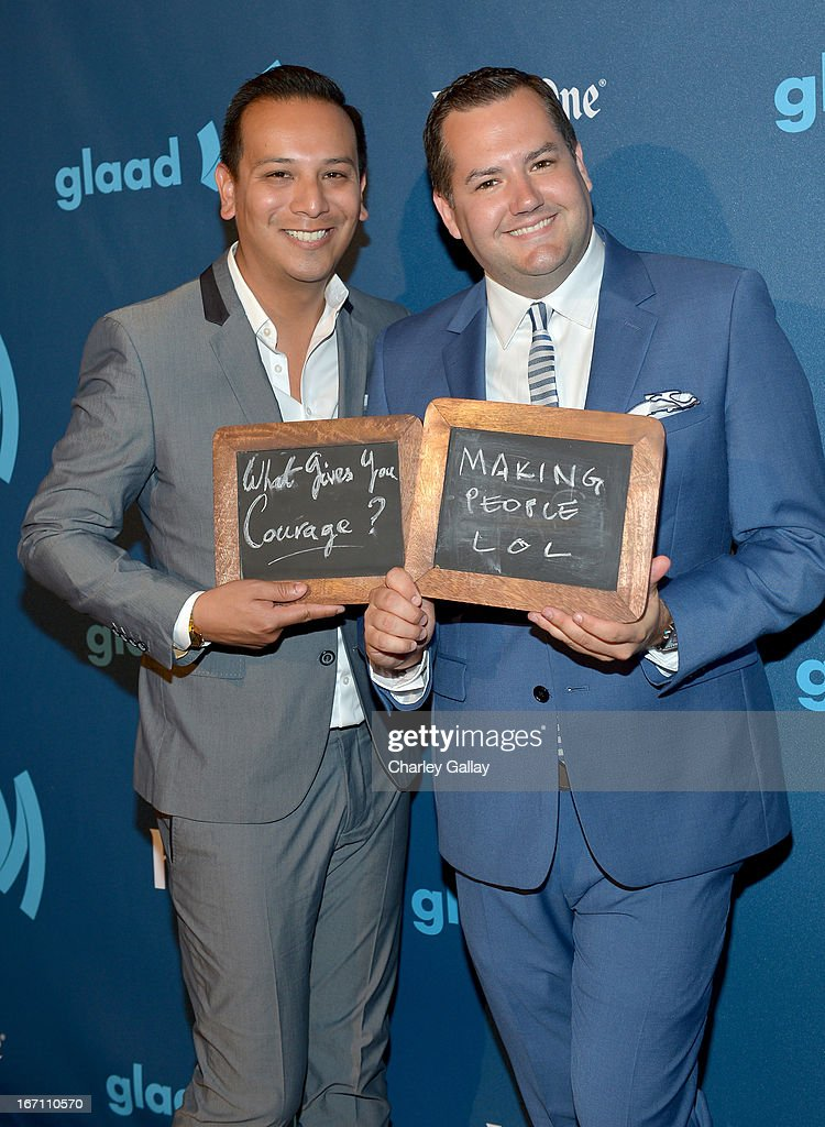 TV personality <a gi-track='captionPersonalityLinkClicked' href=/galleries/search?phrase=Ross+Mathews&family=editorial&specificpeople=2993770 ng-click='$event.stopPropagation()'>Ross Mathews</a> (R) and Salvador Camarena pose in the VIP Red Carpet Suite at the 24th Annual GLAAD Media Awards hosted by Ketel One at JW Marriott Los Angeles at L.A. LIVE on April 20, 2013 in Los Angeles, California.