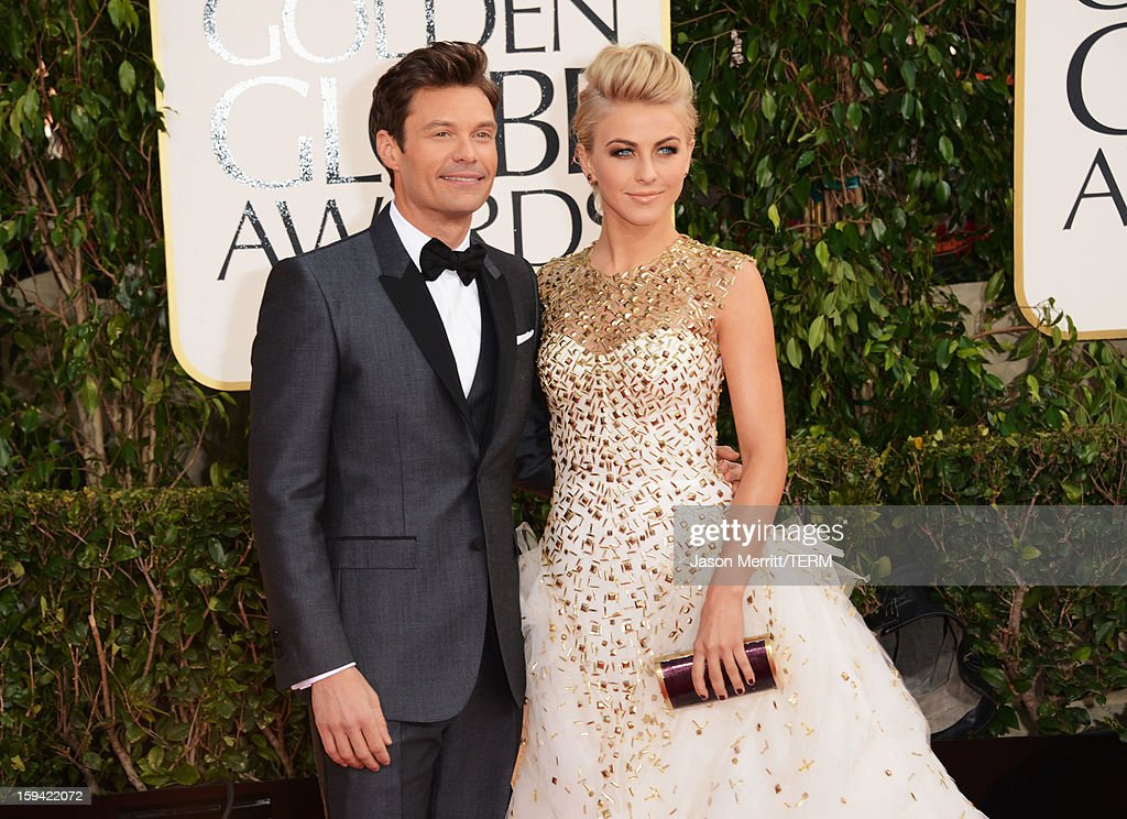 TV personality Ryan Seacrest (L) and dancer Julianne Hough arrive at the 70th Annual Golden Globe Awards held at The Beverly Hilton Hotel on January 13, 2013 in Beverly Hills, California.
