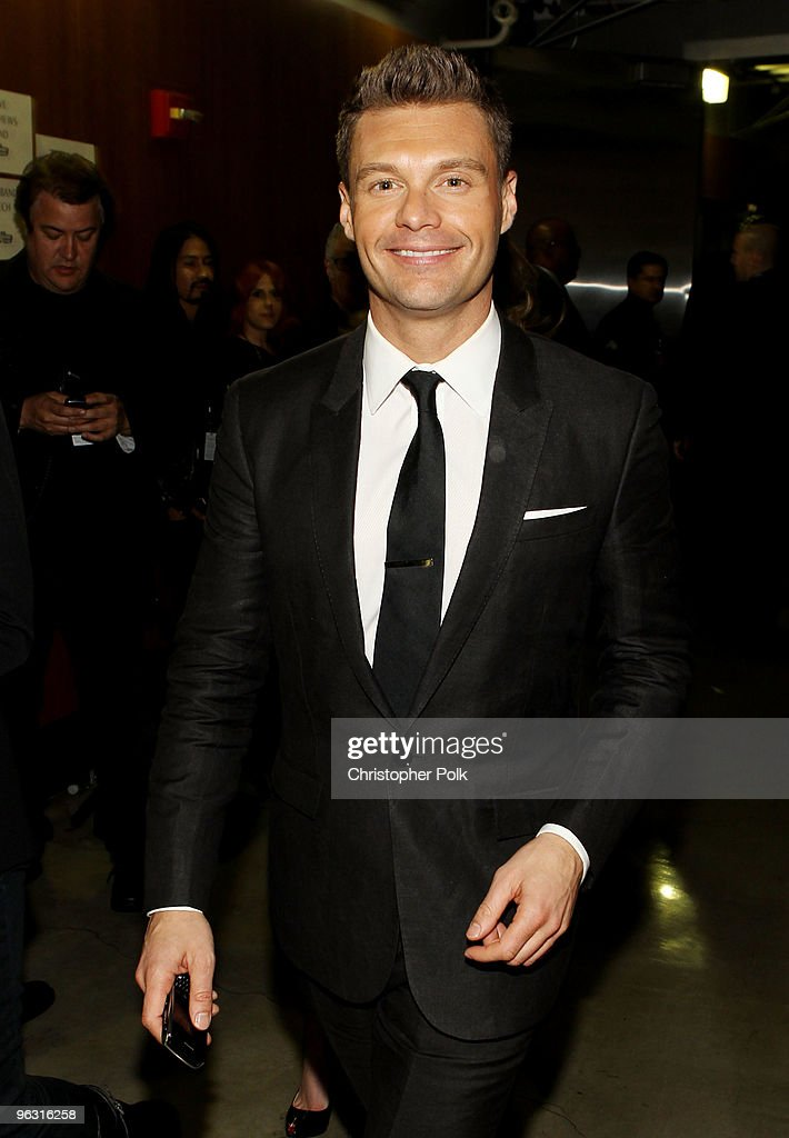 TV personality <a gi-track='captionPersonalityLinkClicked' href=/galleries/search?phrase=Ryan+Seacrest&family=editorial&specificpeople=201694 ng-click='$event.stopPropagation()'>Ryan Seacrest</a> backstage during the 52nd Annual GRAMMY Awards held at Staples Center on January 31, 2010 in Los Angeles, California.