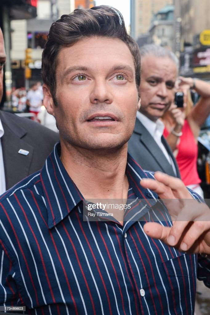 TV personality Ryan Seacrest leaves the 'Good Morning America' taping at the ABC Times Square Studios on July 15, 2013 in New York City.