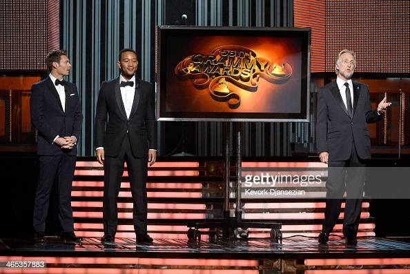 TV personality Ryan Seacrest musician John Legend and Recording Academy President Neil Portnow speak onstage during the 56th GRAMMY Awards at Staples...
