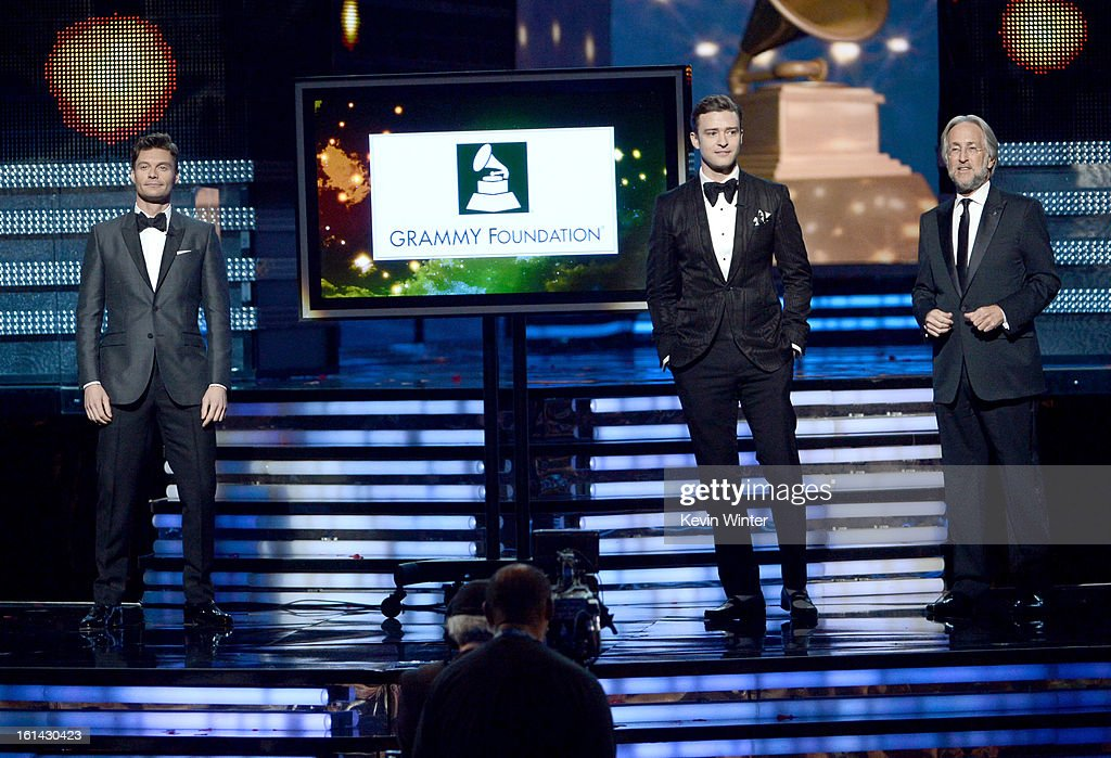 TV personality Ryan Seacrest, singer/actor Justin Timberlake and President/CEO of The Recording Academy Neil Portnow onstage during the 55th Annual GRAMMY Awards at STAPLES Center on February 10, 2013 in Los Angeles, California.