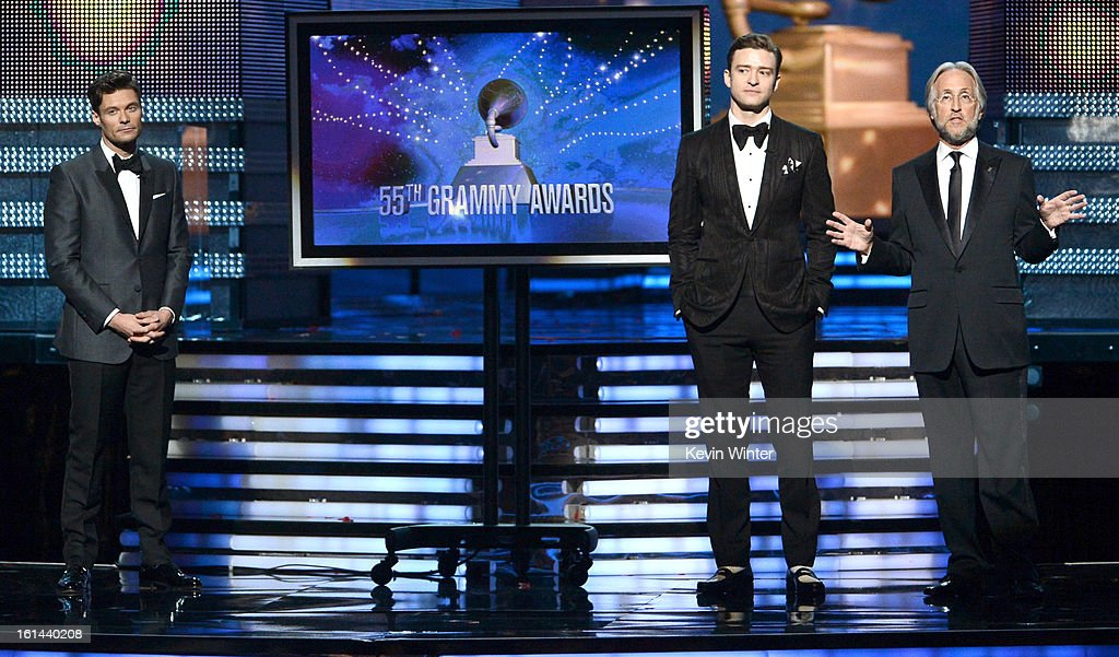 TV personality Ryan Seacrest, singer/actor Justin Timberlake and President/CEO of The Recording Academy Neil Portnow speak onstage during the 55th Annual GRAMMY Awards at STAPLES Center on February 10, 2013 in Los Angeles, California.