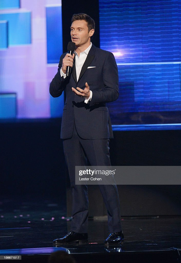 TV personality <a gi-track='captionPersonalityLinkClicked' href=/galleries/search?phrase=Ryan+Seacrest&family=editorial&specificpeople=201694 ng-click='$event.stopPropagation()'>Ryan Seacrest</a> speaks onstage during the 40th Anniversary American Music Awards held at Nokia Theatre L.A. Live on November 18, 2012 in Los Angeles, California.