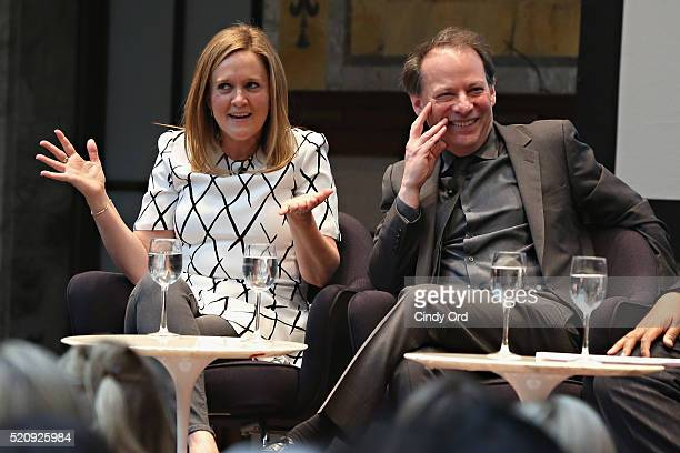 TV personality Samantha Bee and writer Adam Gopnik speak during the New York Public Library Lunch 2016 A New York State of Mind at The New York...