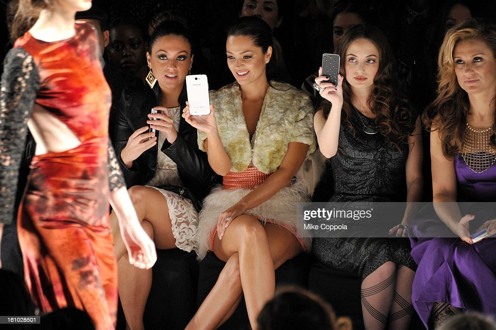 TV Personality Sammi Giancola, actress Paula Garces and singer Alexa Ray Joel attend the Project Runway Fall 2013 fashion show during Mercedes-Benz Fashion Week at The Theatre at Lincoln Center on February 8, 2013 in New York City.
