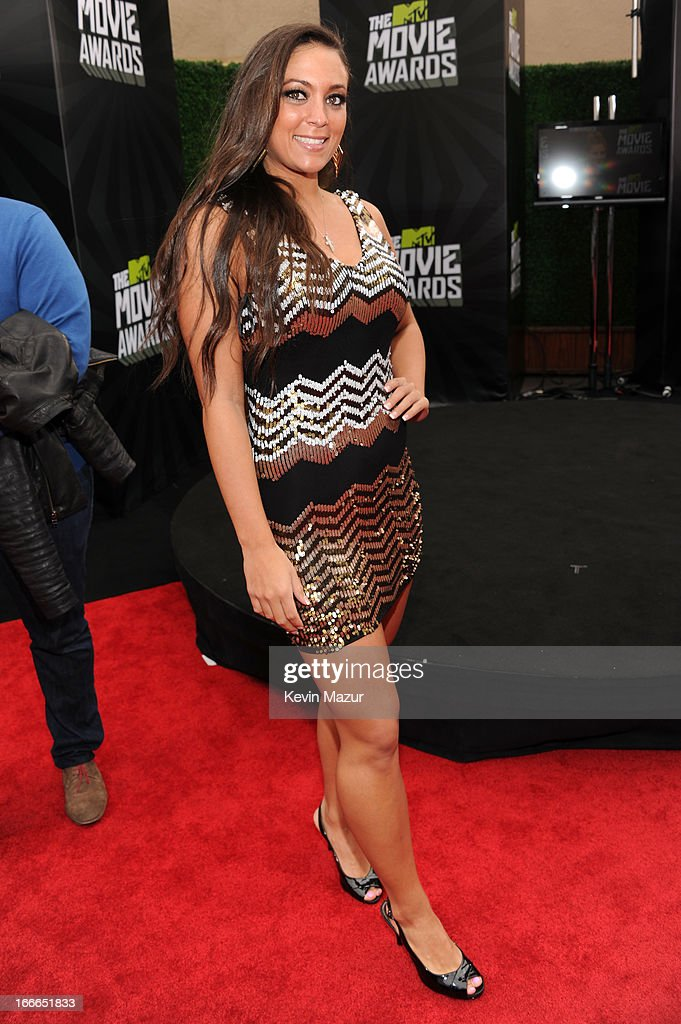 TV personality Sammi Giancola arrives at the 2013 MTV Movie Awards at Sony Pictures Studios on April 14, 2013 in Culver City, California.