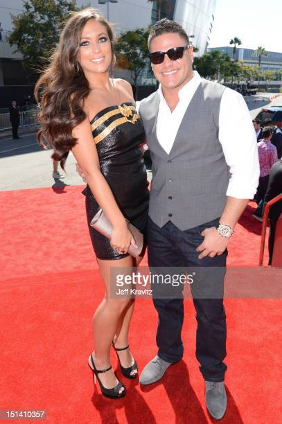 TV personality Sammi 'Sweetheart' Giancola and Ronnie OrtizMagro arrive at the 2012 MTV Video Music Awards at Staples Center on September 6 2012 in...