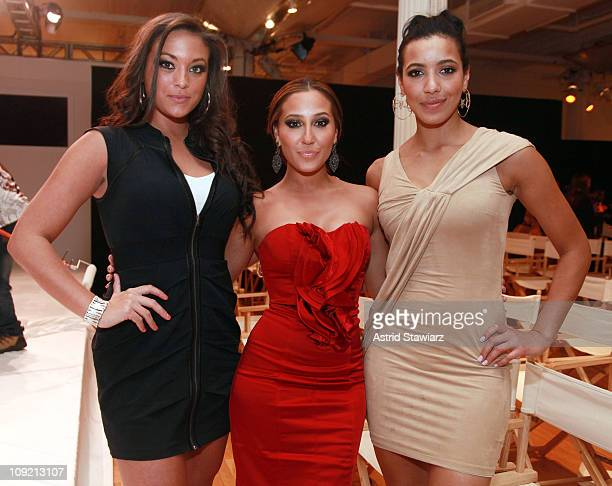 TV personality Sammi 'Sweetheart' Giancola singer Adrienne Bailon and Julissa Bermudez attend the Bebe Fall 2011 fashion show at Style360 on February...