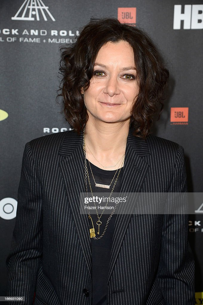TV personality <a gi-track='captionPersonalityLinkClicked' href=/galleries/search?phrase=Sara+Gilbert&family=editorial&specificpeople=585732 ng-click='$event.stopPropagation()'>Sara Gilbert</a> attends the 28th Annual Rock and Roll Hall of Fame Induction Ceremony at Nokia Theatre L.A. Live on April 18, 2013 in Los Angeles, California.