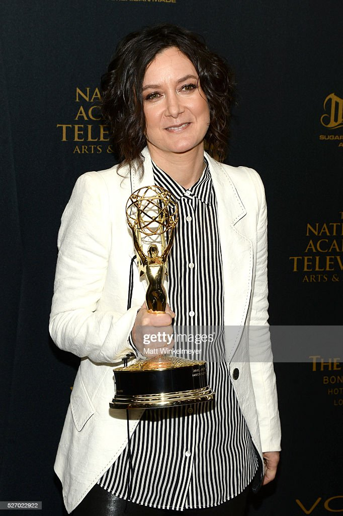 TV personality <a gi-track='captionPersonalityLinkClicked' href=/galleries/search?phrase=Sara+Gilbert&family=editorial&specificpeople=585732 ng-click='$event.stopPropagation()'>Sara Gilbert</a> poses in the press room at the 43rd Annual Daytime Emmy Awards at the Westin Bonaventure Hotel on May 1, 2016 in Los Angeles, California.