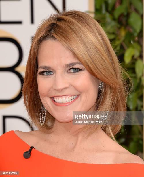 TV personality Savannah Guthrie attends the 71st Annual Golden Globe Awards held at The Beverly Hilton Hotel on January 12 2014 in Beverly Hills...