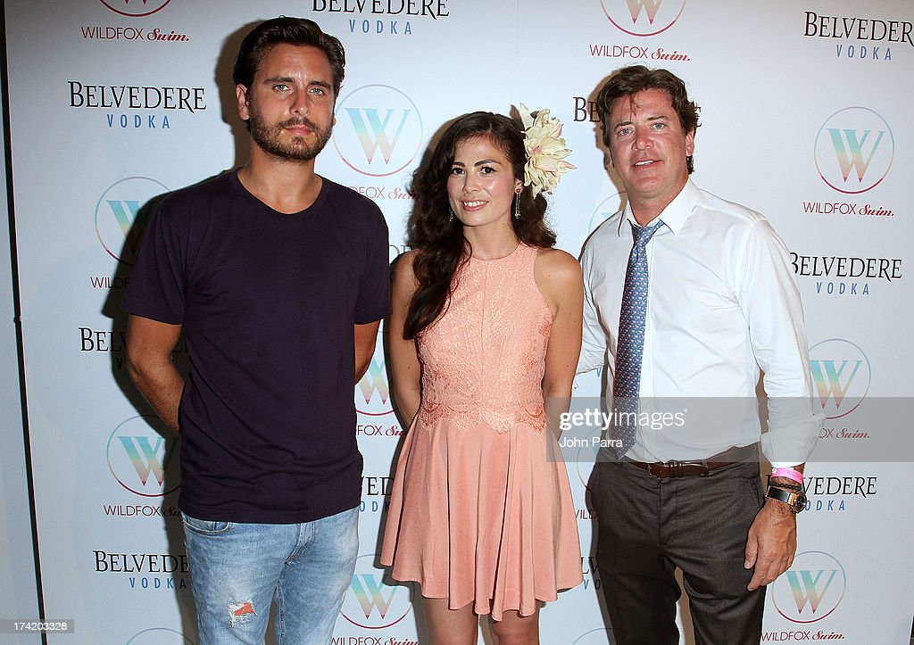 TV personality <a gi-track='captionPersonalityLinkClicked' href=/galleries/search?phrase=Scott+Disick&family=editorial&specificpeople=4420046 ng-click='$event.stopPropagation()'>Scott Disick</a>, Wildfox Swim Designer Leilani Shimoda and Wildfox CEO and President Jimmy Sommers attend the Wildfox Swim Cruise 2014 show at Soho Beach House on July 21, 2013 in Miami Beach, Florida.