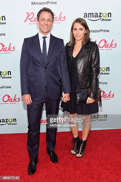 Personality Seth Meyers and Alexi Ashe attend the Amazon red carpet premiere for the brand new original comedy series 'Red Oaks' on September 29 2015...