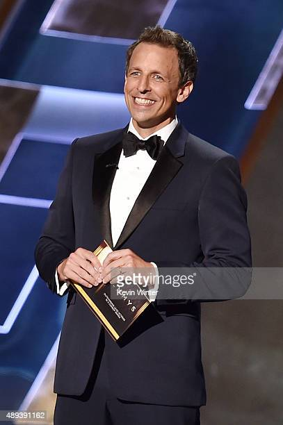 TV personality Seth Meyers speaks onstage during the 67th Annual Primetime Emmy Awards at Microsoft Theater on September 20 2015 in Los Angeles...