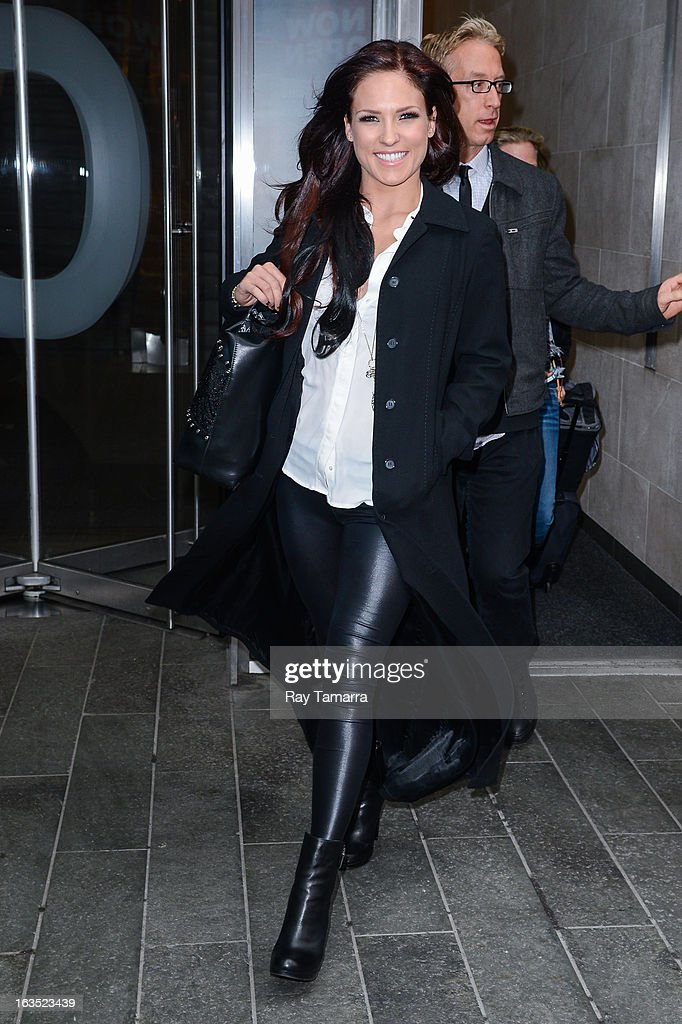 TV personality Sharna Burgess leaves the 'Big Morning Buzz' taping at the VH1 Studios on March 11, 2013 in New York City.