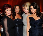 TV Personality Sharon Osbourne actress Leah Remini Kelly Osbourne and TV Personality Kim Kardashian attend the 19th Annual Elton John AIDS Foundation...