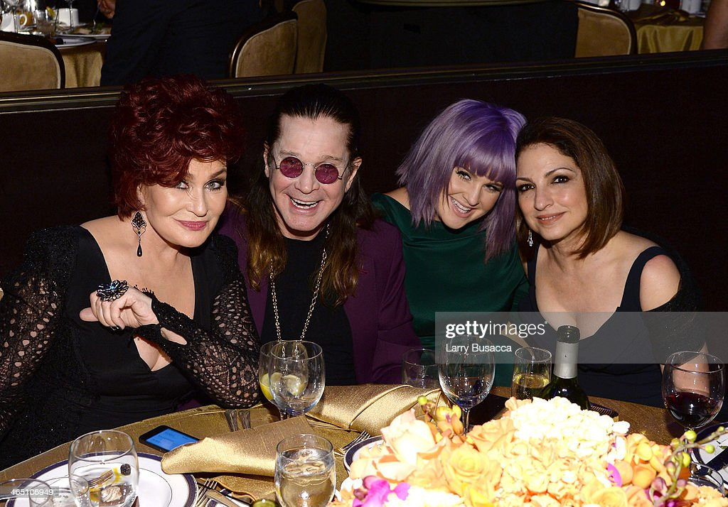 TV personality Sharon Osbourne, recording artist Ozzy Osbourne, TV personality Kelly Osbourne and recording artist Gloria Estefan attend the 56th annual GRAMMY Awards Pre-GRAMMY Gala and Salute to Industry Icons honoring Lucian Grainge at The Beverly Hilton on January 25, 2014 in Beverly Hills, California.