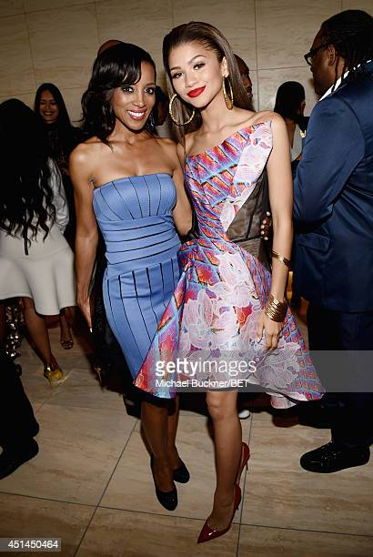 TV personality Shaun Robinson and actress Zendaya Coleman attend the BET AWARDS '14 Debra Lee's PreDinner held at Milk Studios on June 28 2014 in Los...
