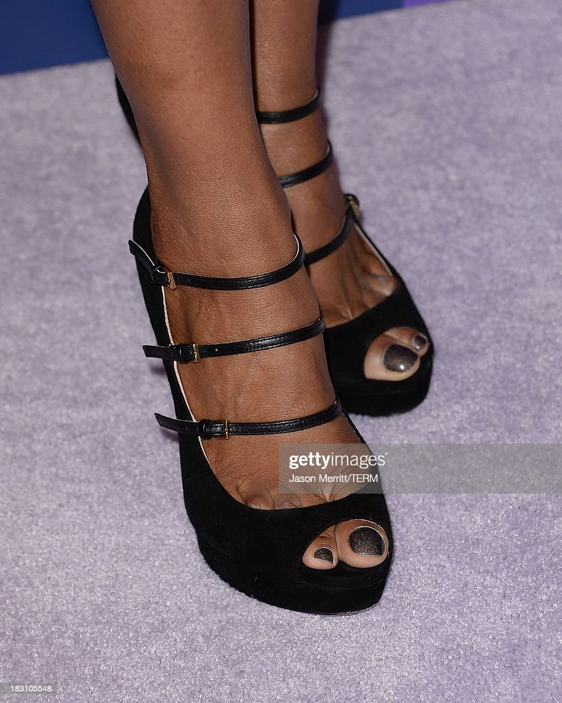 TV personality Shaun Robinson (shoe detail) arrives at Variety's 5th Annual Power of Women event presented by Lifetime at the Beverly Wilshire Four Seasons Hotel on October 4, 2013 in Beverly Hills, California.