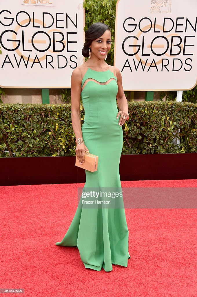 TV personality <a gi-track='captionPersonalityLinkClicked' href=/galleries/search?phrase=Shaun+Robinson&family=editorial&specificpeople=209263 ng-click='$event.stopPropagation()'>Shaun Robinson</a> attends the 72nd Annual Golden Globe Awards at The Beverly Hilton Hotel on January 11, 2015 in Beverly Hills, California.