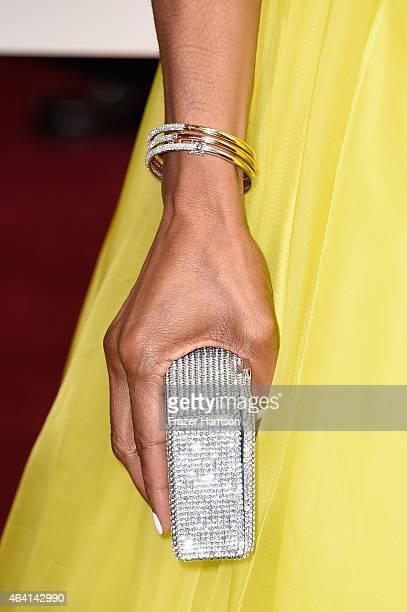 TV personality Shaun Robinson fashion detail attends the 87th Annual Academy Awards at Hollywood Highland Center on February 22 2015 in Hollywood...
