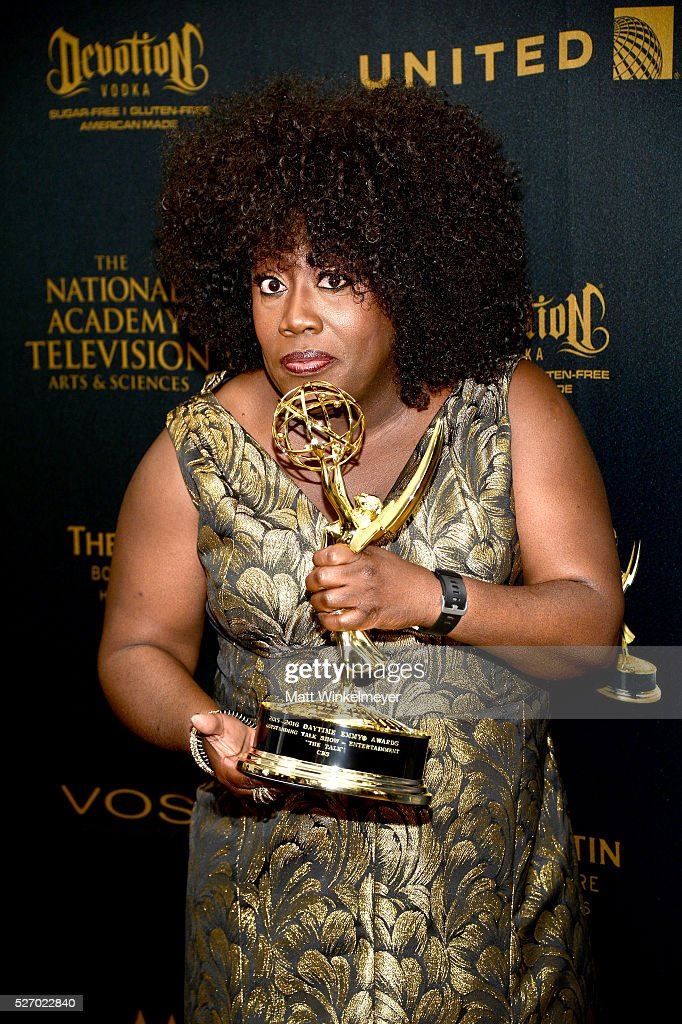TV personality <a gi-track='captionPersonalityLinkClicked' href=/galleries/search?phrase=Sheryl+Underwood&family=editorial&specificpeople=778885 ng-click='$event.stopPropagation()'>Sheryl Underwood</a> poses in the press room with her Emmy at the 43rd Annual Daytime Emmy Awards at the Westin Bonaventure Hotel on May 1, 2016 in Los Angeles, California.