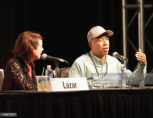 TV personality Shira Lazar and Russell Simmons speak onstage at 'YouTube New Breeding Ground for Music's Future' during the 2014 SXSW Music Film...