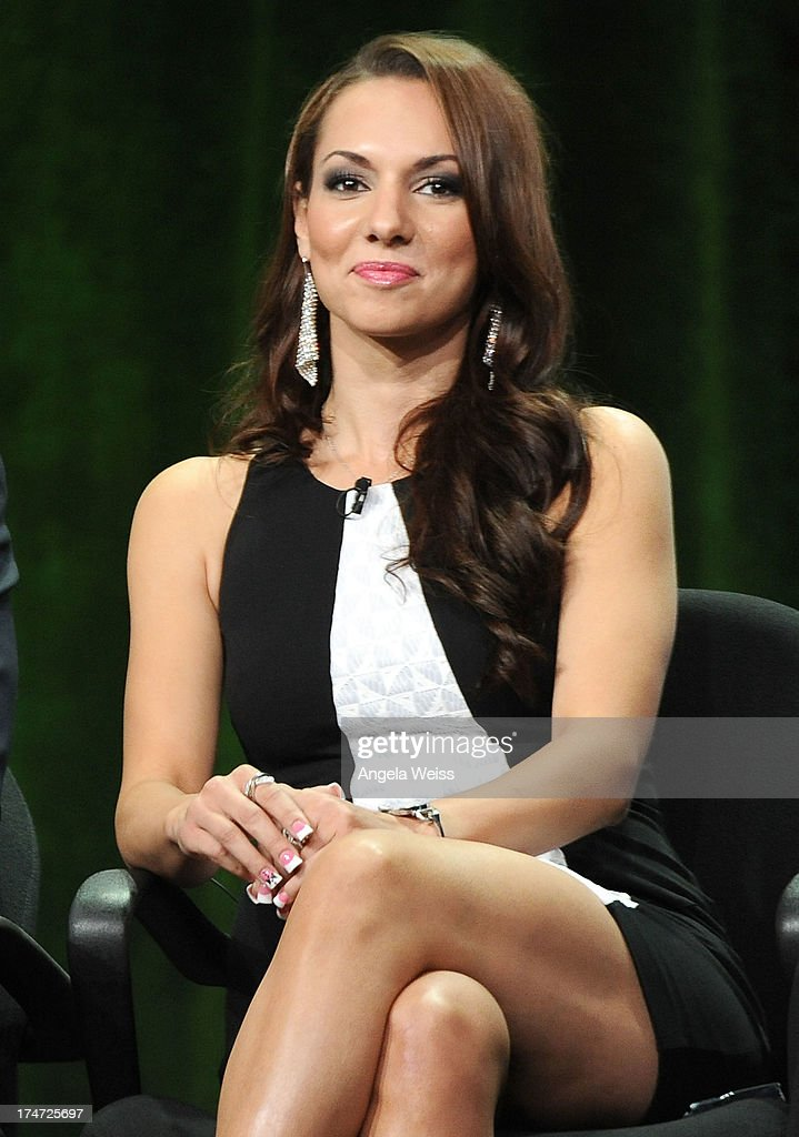TV personality Staci Richter speaks onstage during 'The Capones' panel discussion at the ReelzChannel portion of the 2013 Summer Television Critics Association tour at The Beverly Hilton Hotel on July 28, 2013 in Beverly Hills, California.