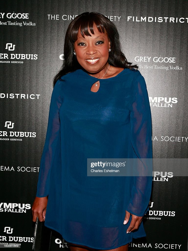 TV personality Star Jones attends The Cinema Society with Roger Dubuis and Grey Goose screening of FilmDistrict's 'Olympus Has Fallen' at the Tribeca Grand Screening Room on March 11, 2013 in New York City.