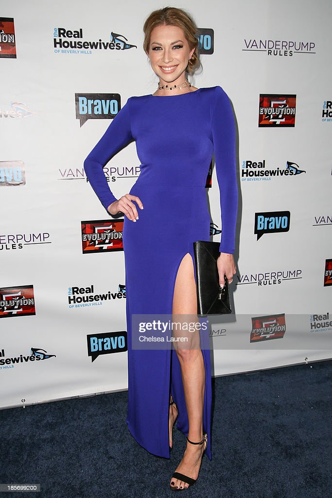 TV personality <a gi-track='captionPersonalityLinkClicked' href=/galleries/search?phrase=Stassi+Schroeder&family=editorial&specificpeople=4395032 ng-click='$event.stopPropagation()'>Stassi Schroeder</a> arrives at 'The Real Housewives Of Beverly Hills' and 'Vanderpump Rules' premiere party at Boulevard3 on October 23, 2013 in Hollywood, California.