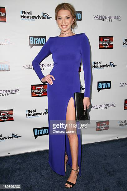 TV personality Stassi Schroeder arrives at 'The Real Housewives Of Beverly Hills' and 'Vanderpump Rules' premiere party at Boulevard3 on October 23...