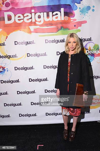 TV personality Stassi Schroeder poses backstage at Desigual fashion show during MercedesBenz Fashion Week Fall 2014 at The Theatre at Lincoln Center...