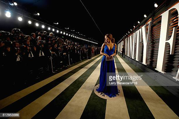 TV personality Stephanie Bauer attends the 2016 Vanity Fair Oscar Party Hosted By Graydon Carter at the Wallis Annenberg Center for the Performing...