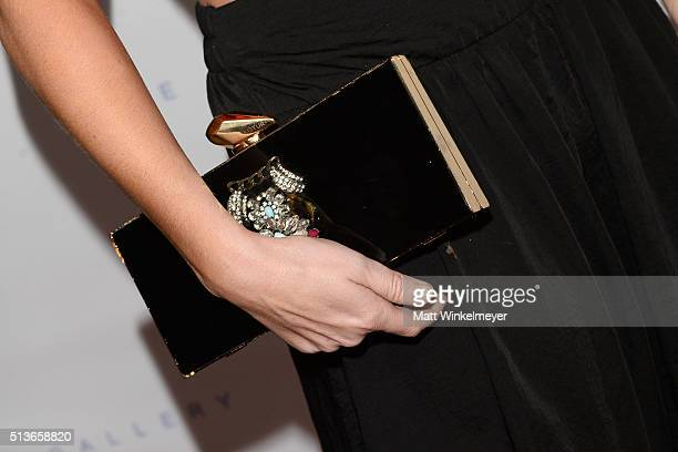 TV personality Stephanie Bauer purse detail arrives at the Best Buddies 'The Art of Friendship' Benefit Photo Auction hosted by De Re Gallery on...