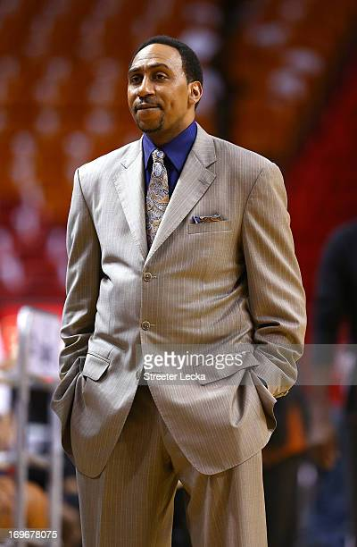 TV personality Stephen A Smith looks on during warm ups prior to Game Five of the Eastern Conference Finals between the Indiana Pacers and the Miami...