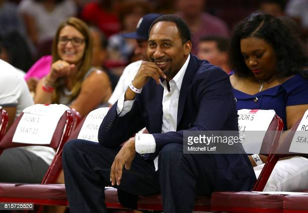 TV personality Stephen A Smith looks on during week four of the BIG3 three on three basketball league at Wells Fargo Center on July 16 2017 in...